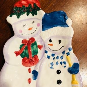 Bath and Body Works Snowman Couple Holiday Tray